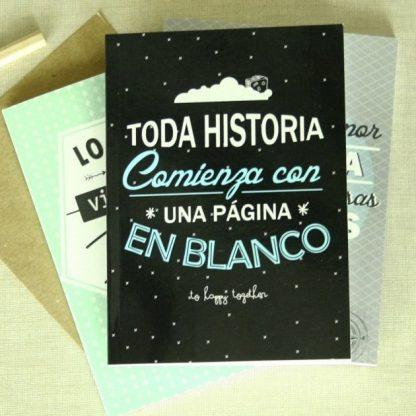 """Libreta """"Toda historia comienza con una pagina en blanco"""""""